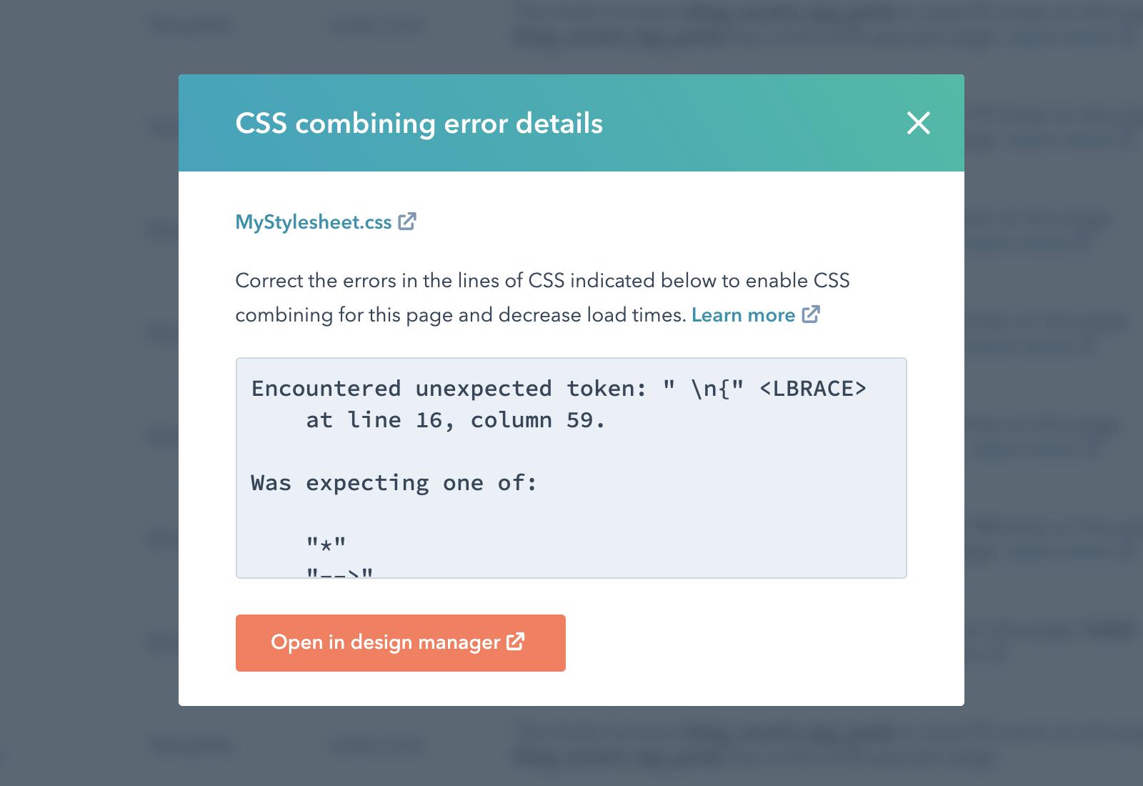 Syntax errors details modal