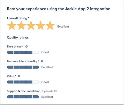 HubSpot Ratings and Reviews Example