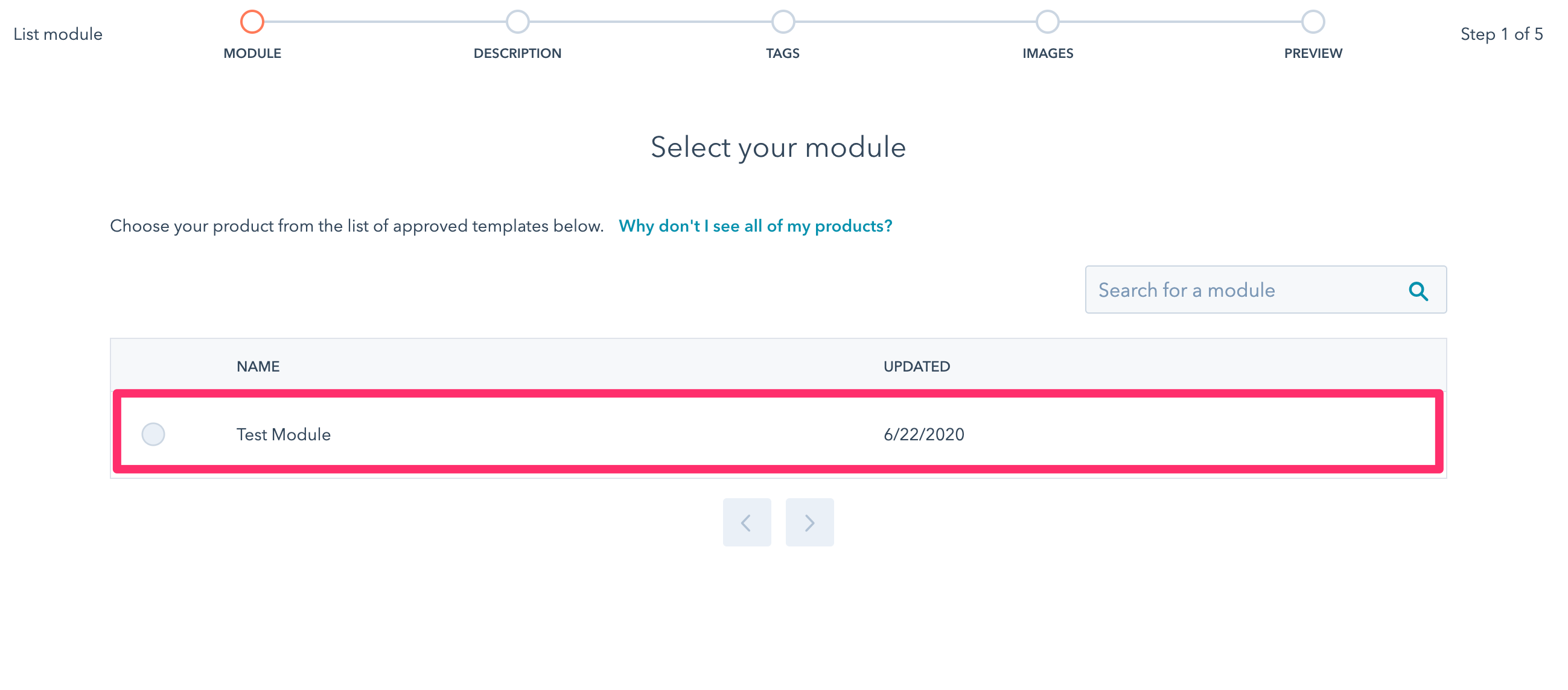Select your asset from the product list
