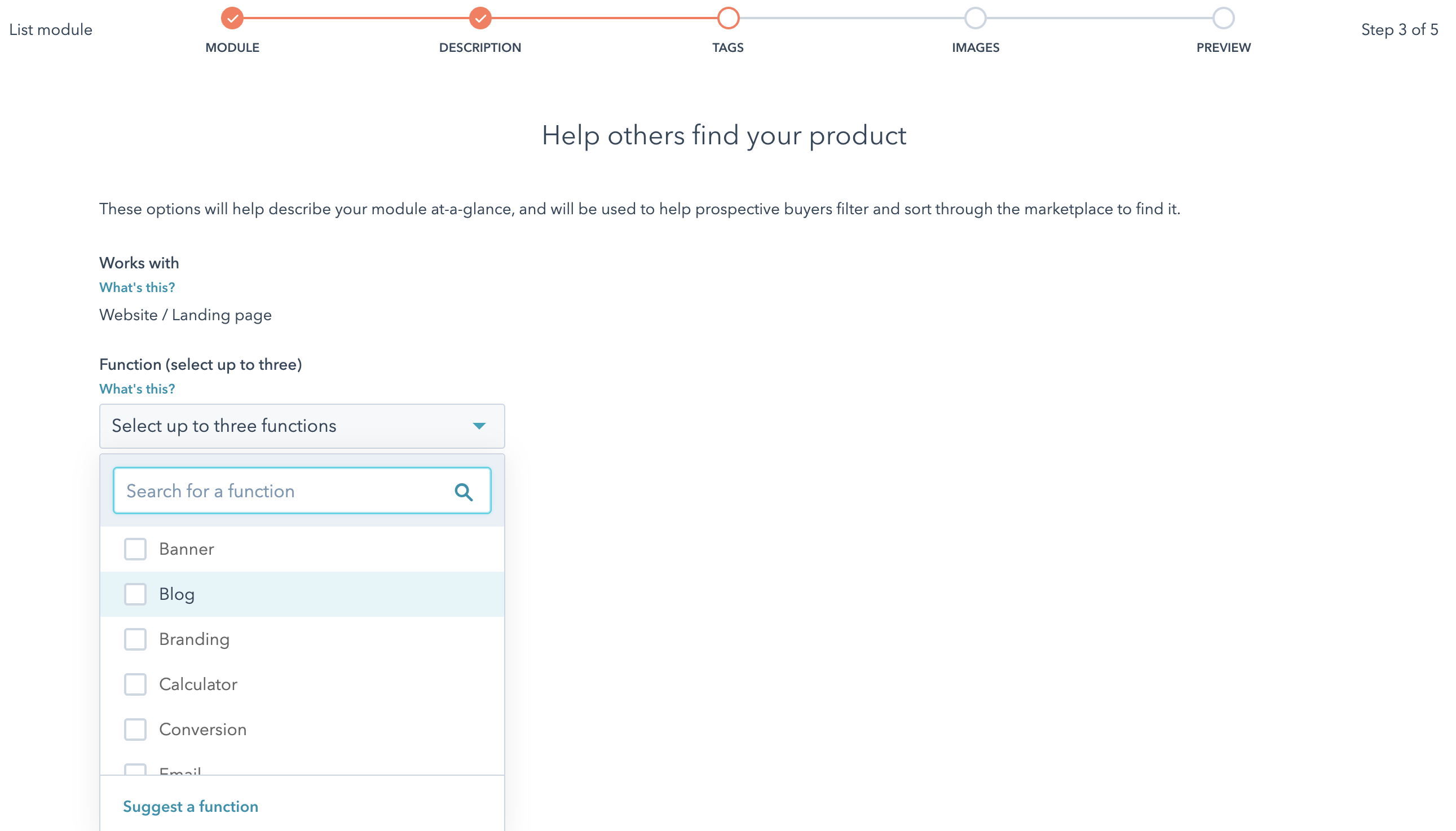 Choosing tags for your product