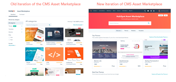 old vs new iteration of the CMS Asset Marketplace