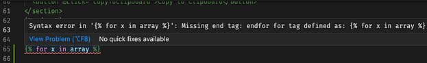 Screenshot showing HubL syntax error message in VS Code