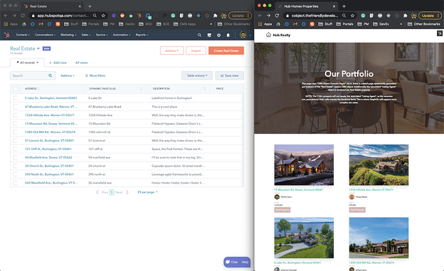 Screenshot of real estate custom object in CRM and CMS page created from it on the right.