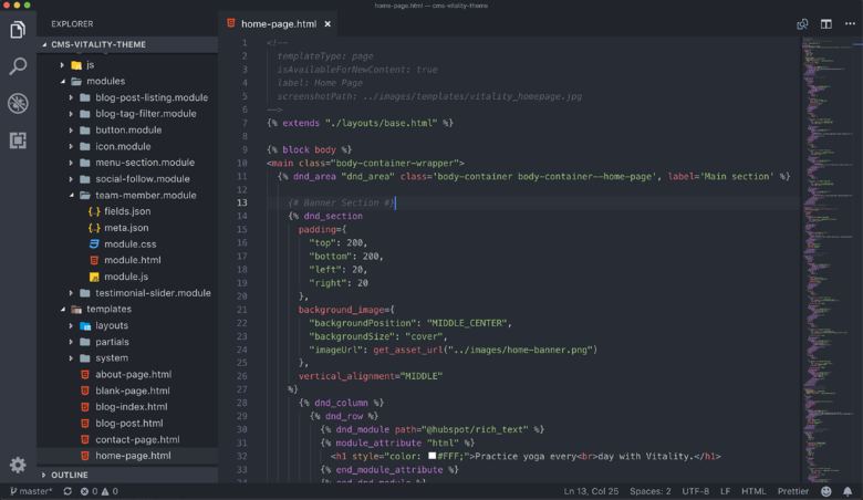 VS Code with HTML and HubL template open