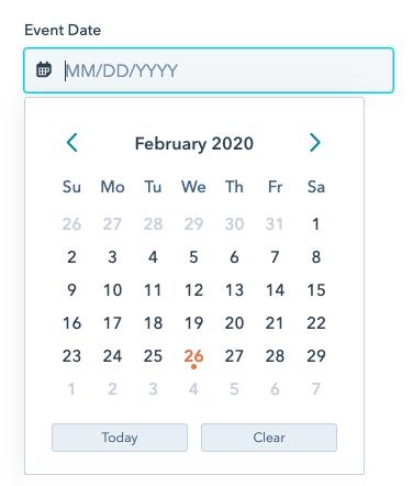 Date field with calendar picker open