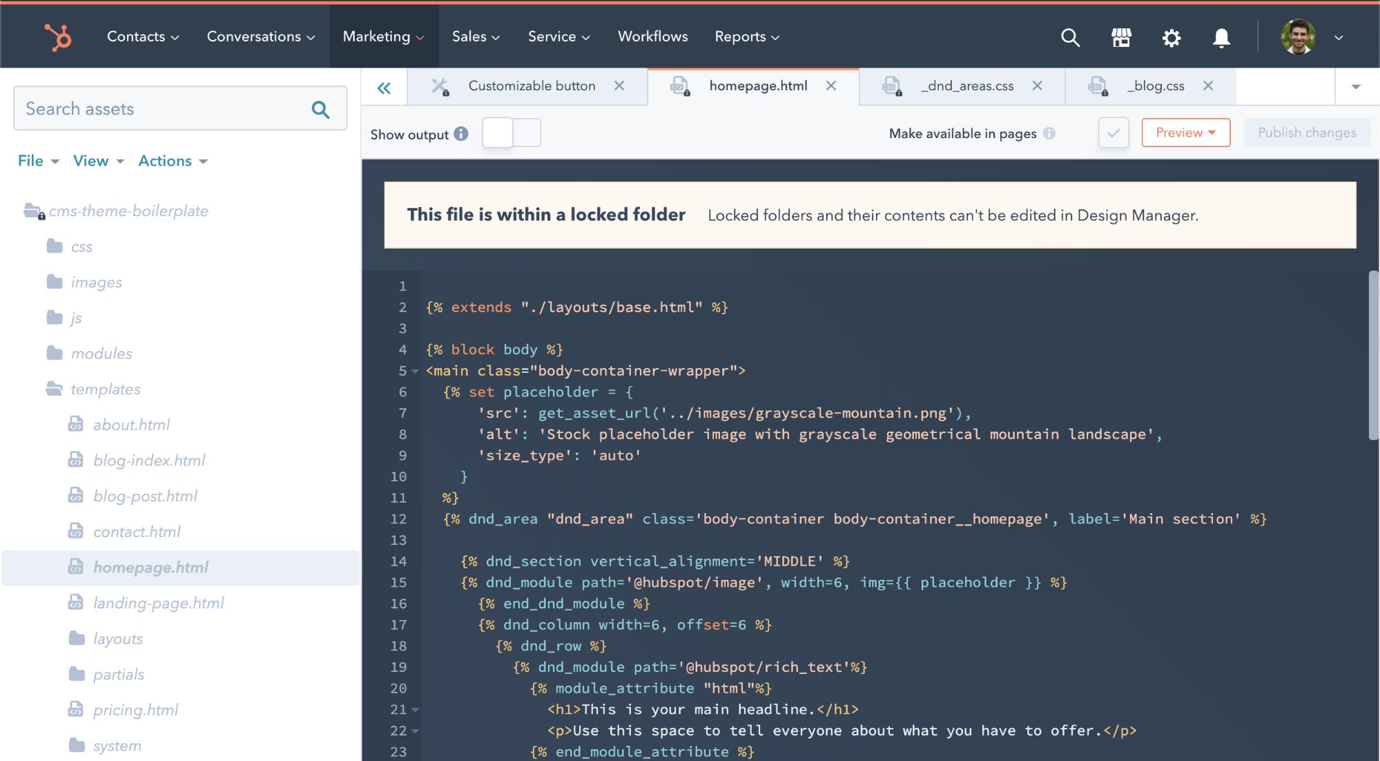 screenshot showing locked folder in Design Manager