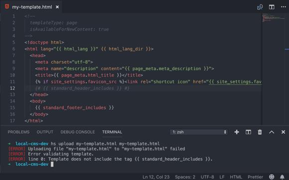 screenshot of a fatal error - CMS CLI