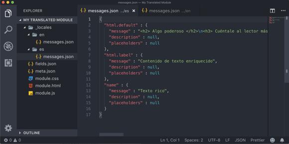 Screenshot of editing module translations locally in VS Code