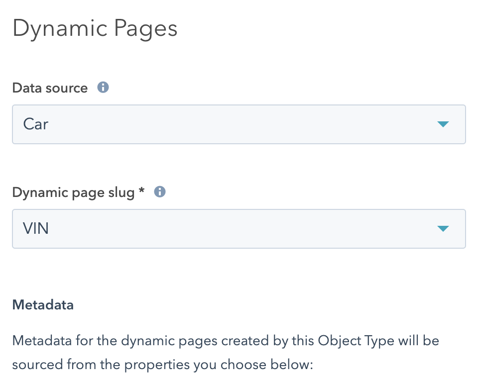Screenshot of the page editor's page settings screen. It's cropped to only show the data source, and dynamic page slug fields for dynamic pages.