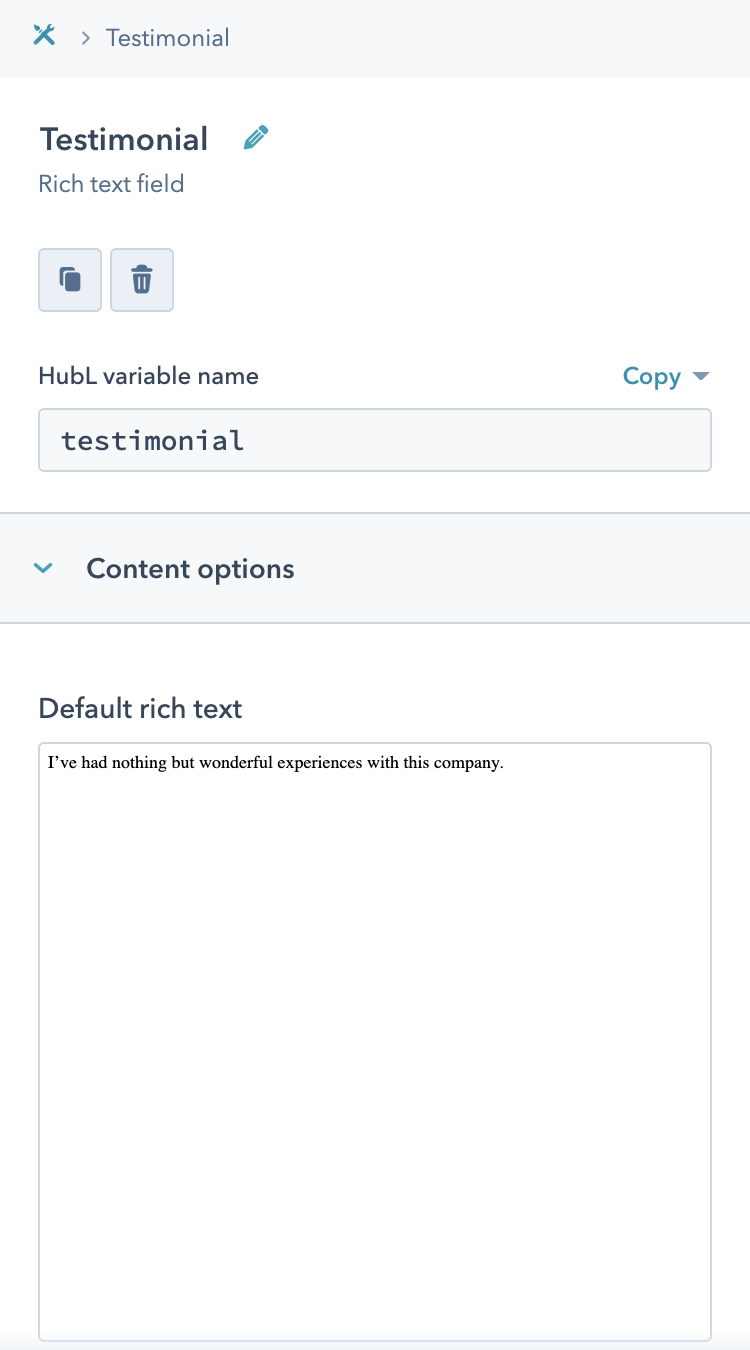 Rich Text Field Example