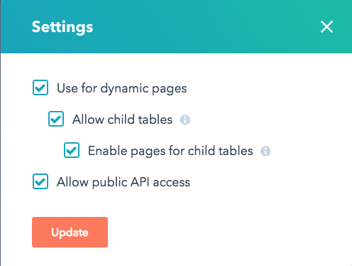 child table settings screen showing all checkboxes checked