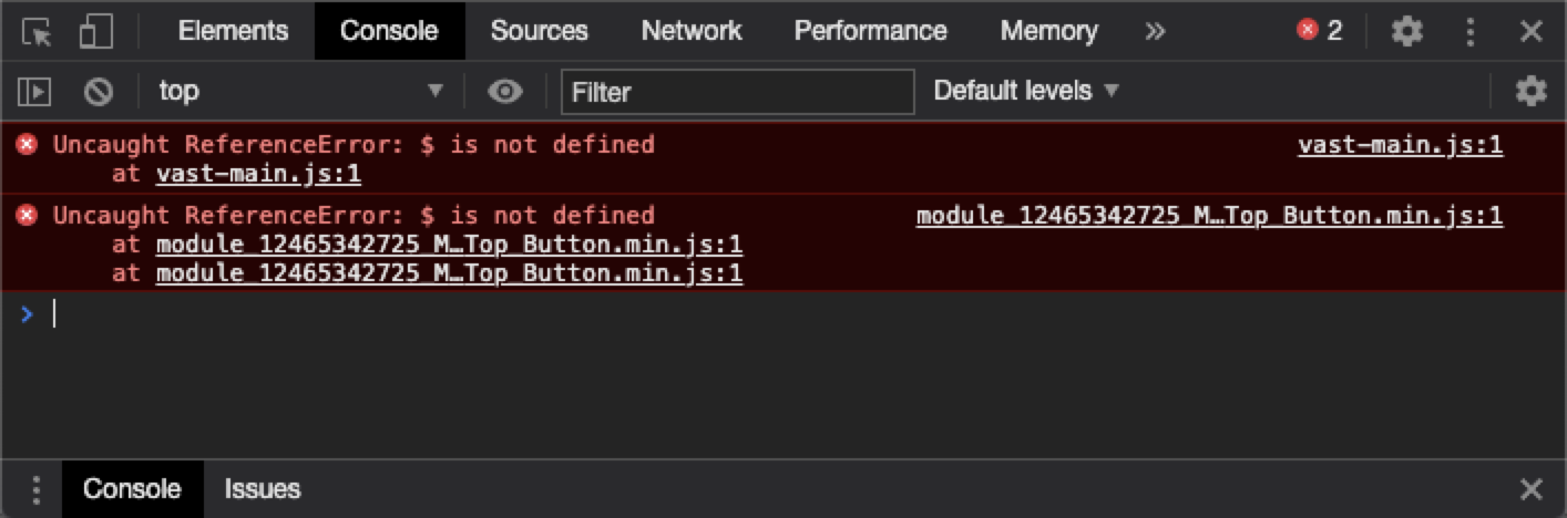 chrome console showing error and file name