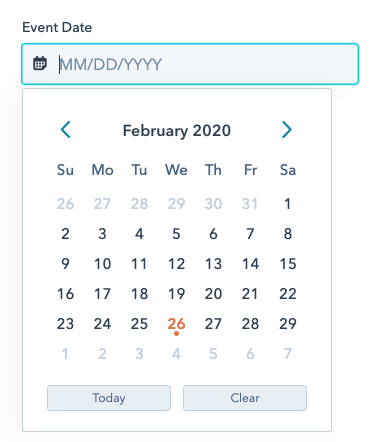 Date field with calendar picker open
