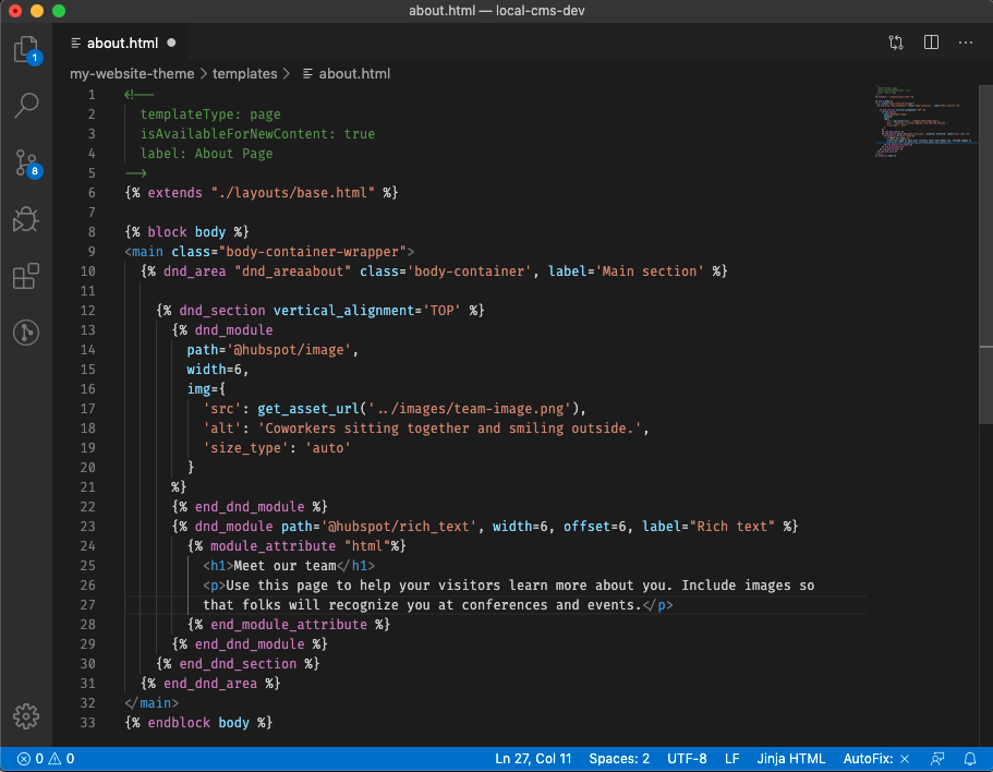dnd_area coded in VS Code