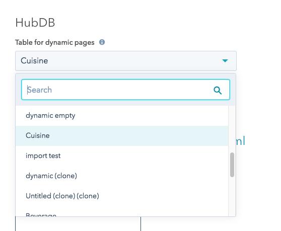 hubdb field in page settings