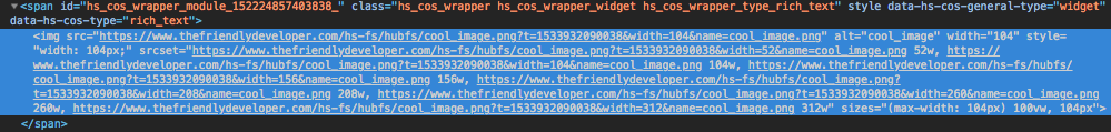 Screenshot of img element with srcset automatically added with different resize URLs