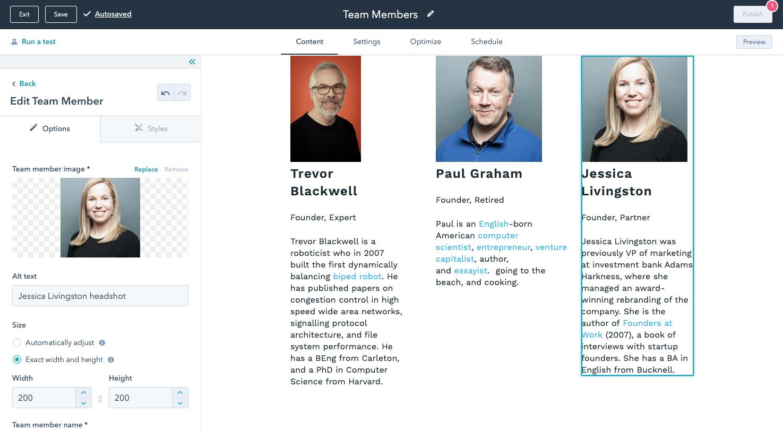 Team member module editor